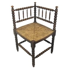 Antique French twisted wood Corner Chair with Rush seat Hobnails Edwardian Beautiful