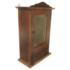 Gorgeous Kitchen Apothecary Medicine Bathroom Wall Cabinet  Ornate Hand Carved Oak Beveled Glass Mirror Hobnails