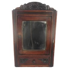 Lovely Kitchen Apothecary Medicine Bathroom Wall Cabinet  Ornate Hand Carved Wood  Mirror