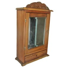 Large Kitchen Apothecary Medicine Bathroom Wall Cabinet  Ornate Hand Carved Wood Beveled Glass Mirror