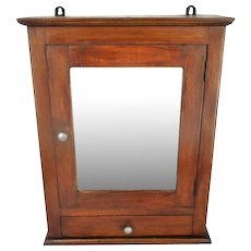 Mid Century Kitchen Apothecary Wall Bathroom Cabinet Hand Carved Wood Mirror