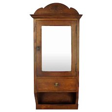 Vintage Kitchen Apothecary Medicine Wall Bathroom Cabinet Oak Beveled Glass