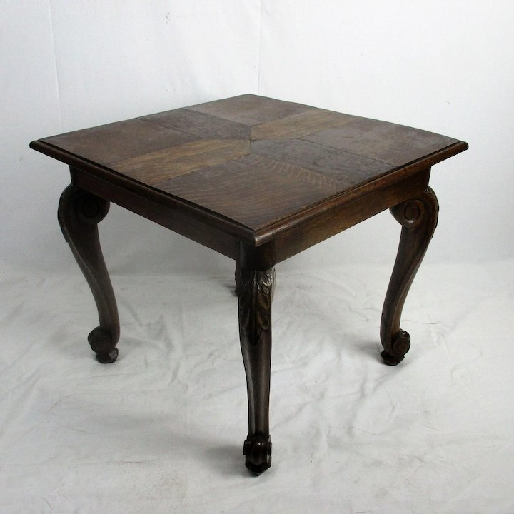 Hand Carved Wood Queen Anne Style Coffee Tea Wine Table Mosaic Pattern On  Top