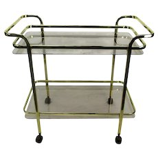 Bar Tea Cart Trolley Cocktail Kitchen Island Smoked Glass Chrome Brass 70s
