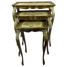 Set of 3 Italian Florentine Hollywood Regency Wood Nesting Stacking Tables