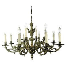 French Hollywood Regency Double Chandelier 14 Lights Ornate Putti Angels WOW