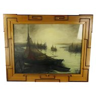 XL Aquarel Signed Jos Idserda Sailing Marine Ornate Decorative Frame Wood WOW