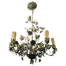 Hollywood Regency Chandelier 6 Lights Brass Flowers Leafs Basket HTF Lovely