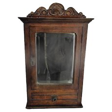 Lovely Kitchen Apothecary Medicine Bathroom Wall Cabinet  Ornate Hand Carved Wood Beveled Glass Mirror Pediment