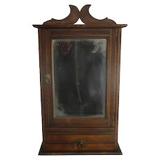 Lovely Kitchen Apothecary Medicine Bathroom Wall Cabinet  Hand Carved Wood Oak Beveled glass Mirror