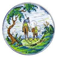 Large Charger Wall Plate Talavera Spain Majolica Don Quichotte Sancho Panza