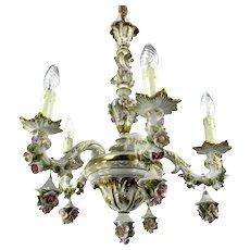 Capodimonte Italian Ornate Chandelier 5 arm Porcelain Roses Flowers Marked