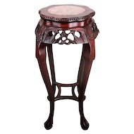 """Tall Carved Wood Marble Top Rosewood Plant Stand Round Side Table Chinese 36.6"""""""