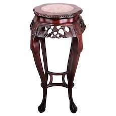 Tall Carved Wood Marble Top Rosewood Plant Stand Round Side Table Chinese 36.6""