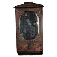 Vintage Ornate Wooden Kitchen Apothecary Wall Cabinet Beveled Glass Mirror