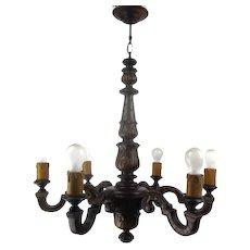 Hand Carved Wooden Chandelier Ornate 6 arm Lights Mid Century Modern