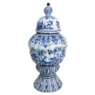 Antique 19th C XL Marked The three Bells Delft Vase Urn Peacocks HTF 20.86""