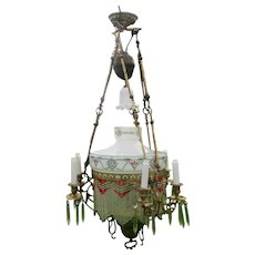 French Art Nouveau Oil Chandelier 6 Candle Holders