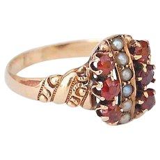 antique Victorian era seed pearl 10kt gold ring red garnet  Sz 6