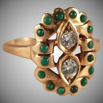 Art Deco Retro Modern vintage diamond and turquoise 14k ring 8.25 8 1/4