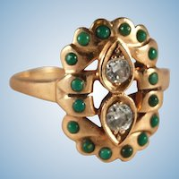 Art Deco Retro Modernist vintage diamond and jade 14k ring 8.25 8 1/4