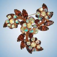 Sparkling D&E Juliana rootbeer rhinestone pinwheel brooch pin