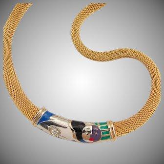 Fun Modernist Cubist enamel rhinestone mesh collar necklace modern art