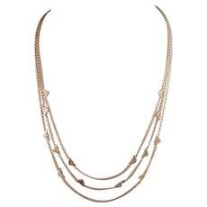 Estate Armani sterling silver three strand logo necklace