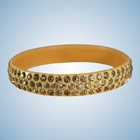 Fab Retro celluloid bangle bracelet with sparkling rhinestones Art Deco