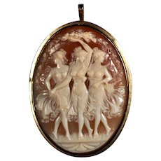 Three Graces Beauty Mirth and Elegance signed vintage cameo brooch 14k gold