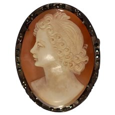Sweet .980 silver marcasite art deco era hand carved cameo brooch pendant