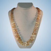 Natural honey citrine faceted 2 strand vintage necklace retro 14kt gold clasp