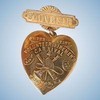 Antique 1897 Firemen's Carnival New Jersey Sweetheart Souvenir brooch heart