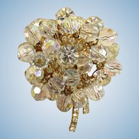 Sparkling D&E dimensional crystal cluster rhinestone flower brooch vintage Juliana