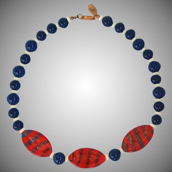 Patriotic Miriam Haskell art glass red white blue vintage necklace