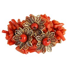 Vintage 1930s early Miriam Haskell spezzati branch coral floral brooch