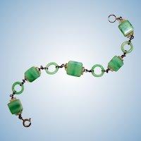 Marbled Satin Jadite glass and silver art deco bracelet