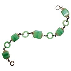 Marbled Satin Jadite glass and silver art deco bracelet