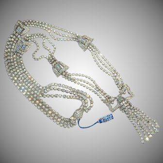 signed Weiss all wrapped up with a bow rhinestone fringe necklace longer length