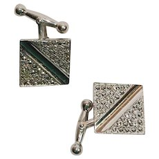 Art Deco sterling and marcasite by Brandt Metal Crafters signed cuff links