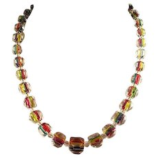 Colorful faceted Art Deco era rainbow iris art glass crystal necklace