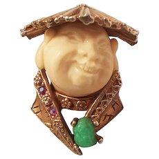 Vintage HAR Smiling China man / Buddha scarf pin brooch figural Book Piece