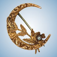 Ornate repousse 10k gold flower crescent moon antique Edwardian brooch pin