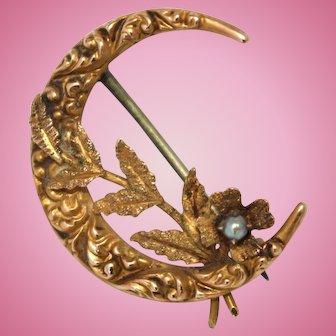 Ornate repousse 10k gold flower crescent moon antique Edwardian brooch pin