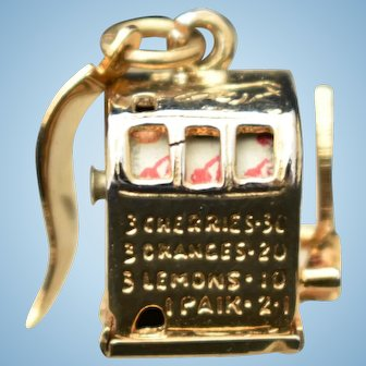 Cute sterling silver Las Vegas slot machine charm with working lever and fruit