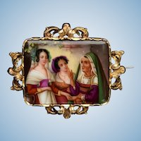 Hand Painted Fortune Teller Victorian 14k gold framed porcelain brooch antique