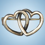 Sweetheart interlocking hearts Victorian to Edwardian sterling silver pin brooch antique