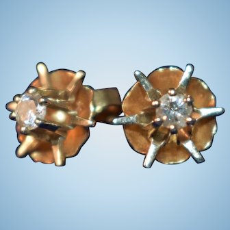 Atomic Vintage 14k yellow gold diamond solitaire starburst earrings modernist
