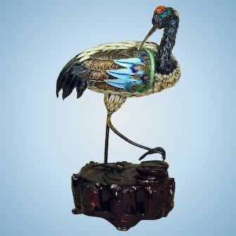 Estate Chinese export silver cloisonne Tancho Red Crowned Crane figurine statue
