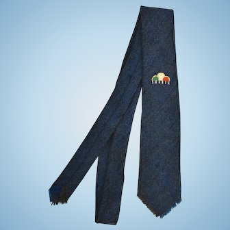 Tewa Pueblo Native American Hand Woven skinny vintage 1960's men's tie rain prosperity symbol